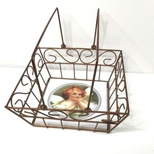 Copper Wire Basket with Angel Ceramic Tile